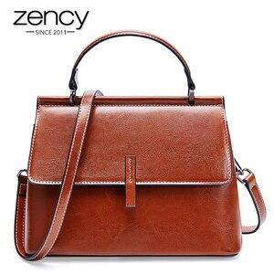 Image 1 - Zency 100% Genuine Leather Retro Brown Women Tote Bag Small Flap Daily Casual Shoulder Messenger Bags Black Grey Handbag