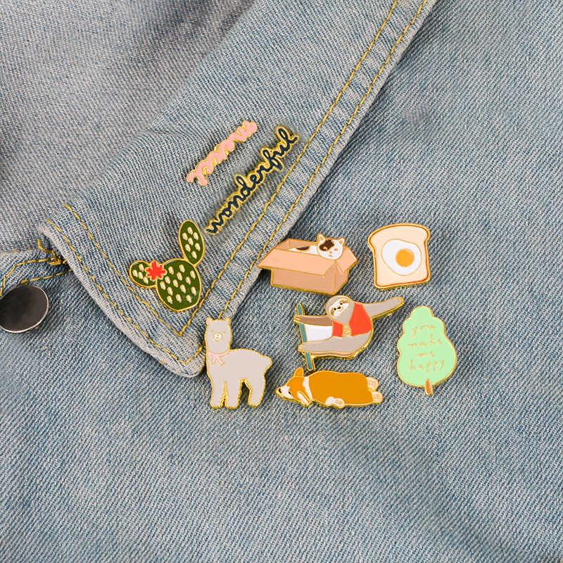Carino Spilli Gatto Corgi Alpaca Sloth Cactus Uovo Spille Distintivi e Simboli Vestiti Sacchetto di Smalto Spilli Regali Per La Bella Amici commercio all'ingrosso Dei Monili