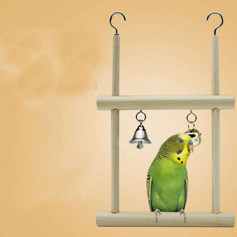 Double Grid font b Pet b font Bird Parrot Toys Wooden Stand Ladders Climber Bird Playground