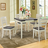 Extending 5 Piece Wood Dining Table Set HW63959+