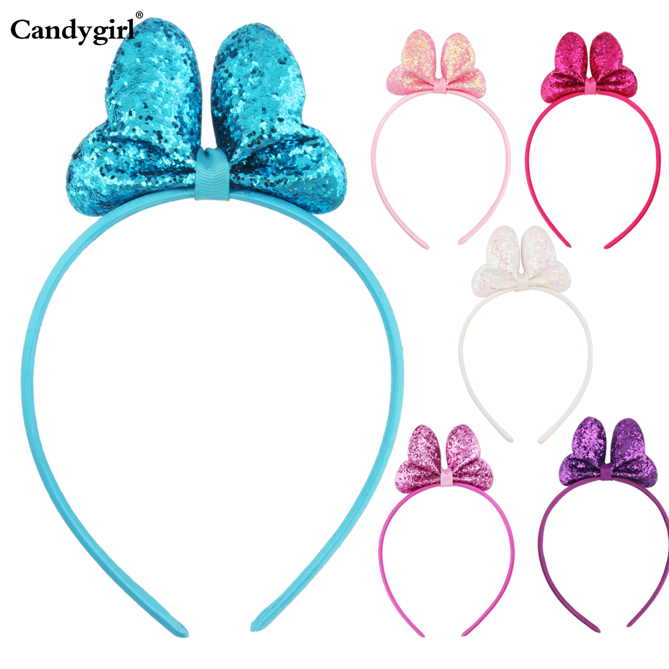 2019 New Girls Headband Bright Pink Bow Headband 6 Colors Banquet Party Decoration Children's Hair With Headwear Accessories