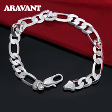 925 Silver 6MM Flat Link Chain Bracelets For Men Women High Quality Jewelry