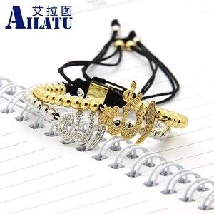 Image 4 - Ailatu hurtownia muzułmańska religijna bransoletka makrama Micro Pave wyczyść Cz mosiądz moda męska biżuteria