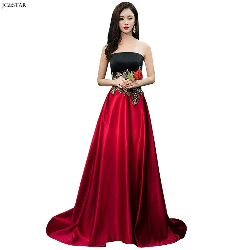 Robe De Soiree Longue New Satin Appliqué Stitching Black Red Bridesmaid Dresses Long OFF Shoulder A Line Vestido Madrinha Cheap