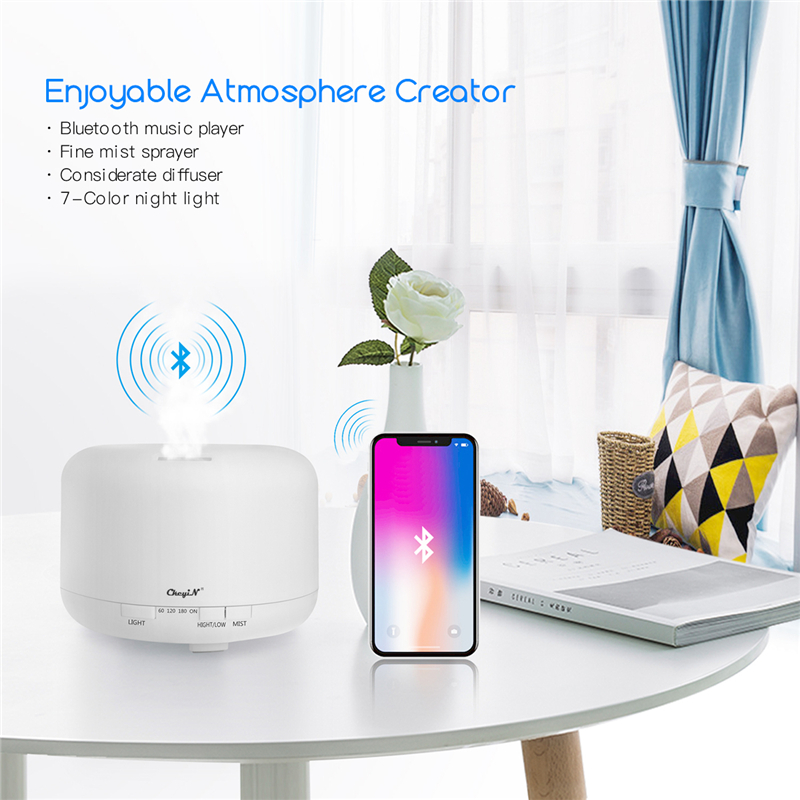 700ml Ultrasonic Air Humidifier Aromatherapy Essential Oil Diffuser Low Noise Air Purifier With Bluetooth Music Player 7 Lights