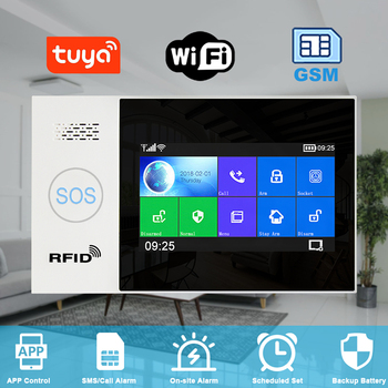 Tuya WiFi GSM GPRS Alarm Wireless Home Intrusion Burglary Alarm System with Smart Life APP 4.3 inch Full-Touch Screen RFID smart meter networks intrusion detection system by design