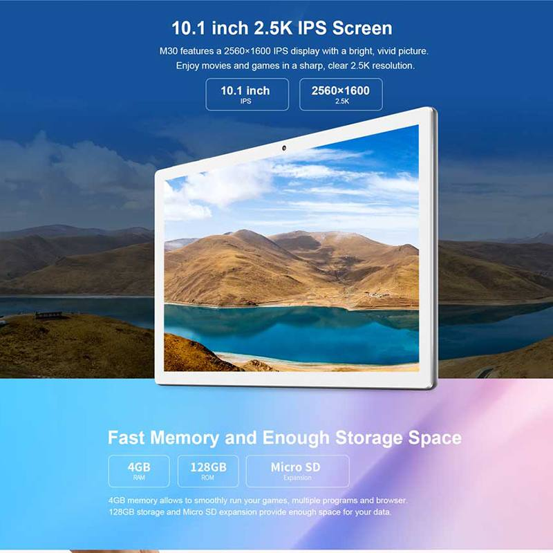 Teclast M30 4GB + 128GB Tablet 10.1 inch 2560x1600 MT6797X X27 10 Core Android 8.0 PC Dual 4G WIFI Network Tablets 3