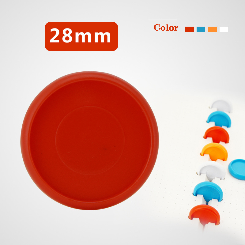 12pcs 28mm Solid Color Plastic Buckle Mushroom Hole Loose-leaf Notebook Detachable Book Binding Ring Binder Disc Binding