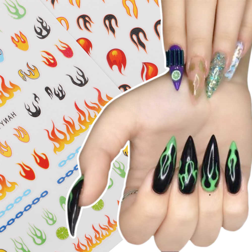 1 PC Hologram 3D Kuku Slider Api Stiker Decals Perekat Manicure Tips Nail Art Dekorasi Vinyls Stensil Berongga Stiker