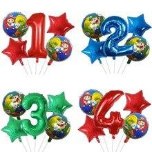 5 pçs super mario folha de hélio balões menino menina aniversário tema festa decoração 30 polegada número luigi bros mylar ar globos brinquedos