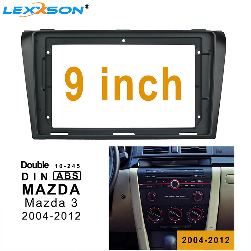 9 Inch Car <font><b>Radio</b></font> Fascia For <font><b>MAZDA</b></font> <font><b>3</b></font> 2004-2012 Dashboard Installation Trim Refitting Kit Frame Surround CD DVD GPS Bezel frame image