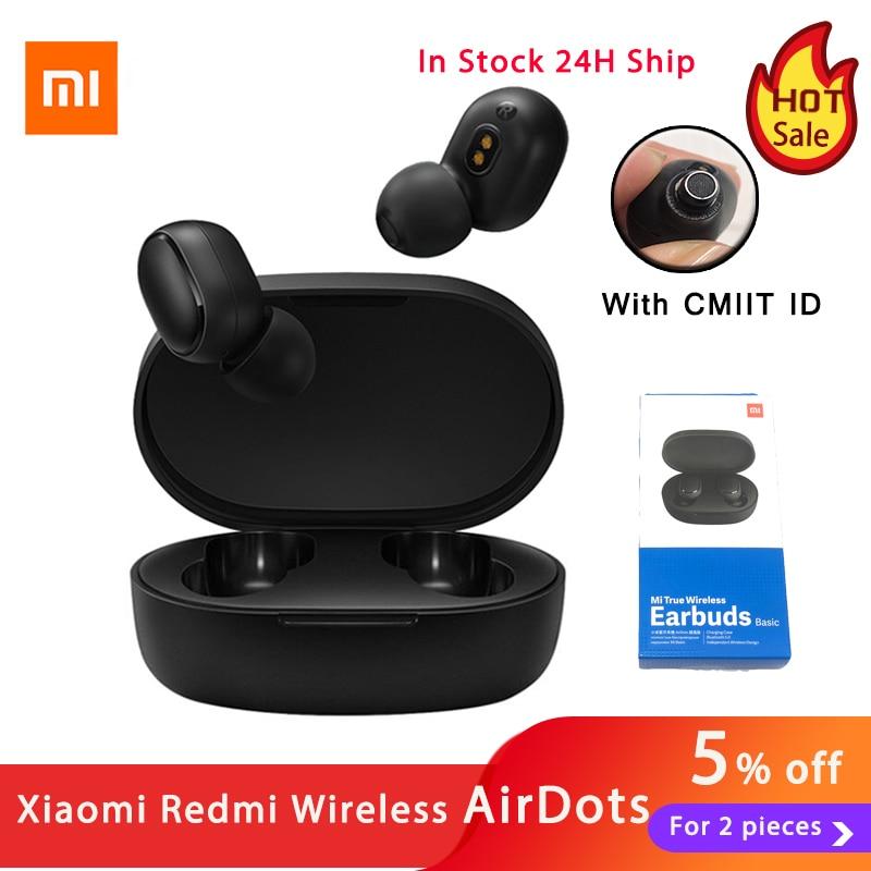 Global Version Xiaomi Redmi AirDots AI Control Xiaomi Wireless Headphones Bluetooth 5.0 TWS Wireless Earbuds Charging Box