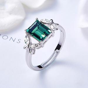 Image 2 - Украшенное кристаллом от Сваровски, кольца с зеленым камнем и бабочкой, женские кольца регулируемого размера для вечеринки