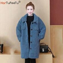 Куртка из искусственного меха ягненка женская зимняя теплая