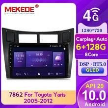 MEKEDE 6G 128GB QLED tv ekran Android10.0 Radio samochodowe z GPS multimedialny odtwarzacz Video dla Toyota Yaris XP90 2005 - 2012 z carplay DSP 4G