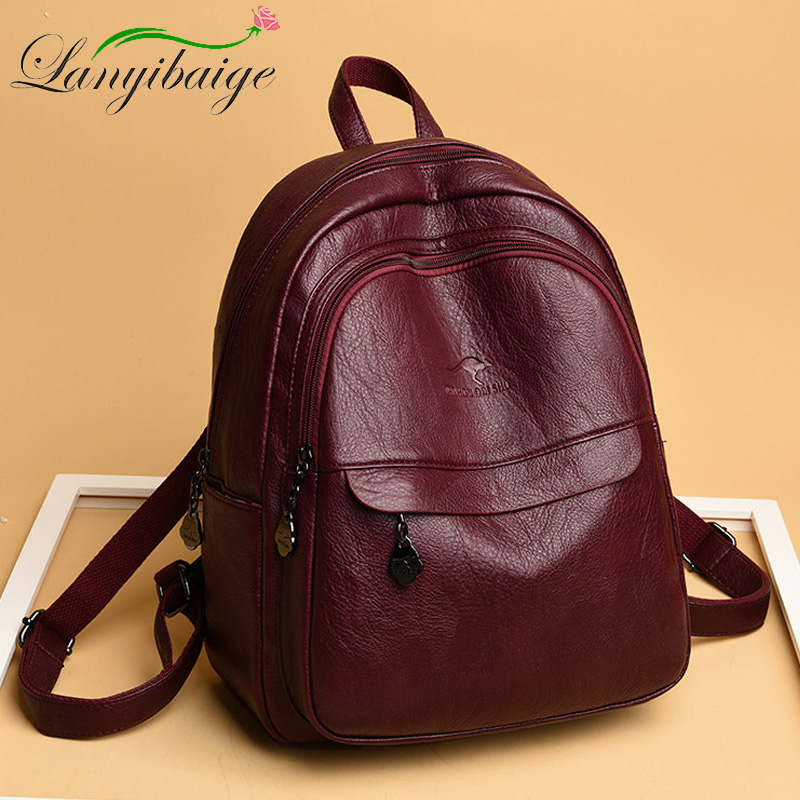 New Women Leather Backpack Preppy Vintage Ladies Bagpack Sac A Dos Mochila Mujer Travel Backpack School Bags For Teenage Girls