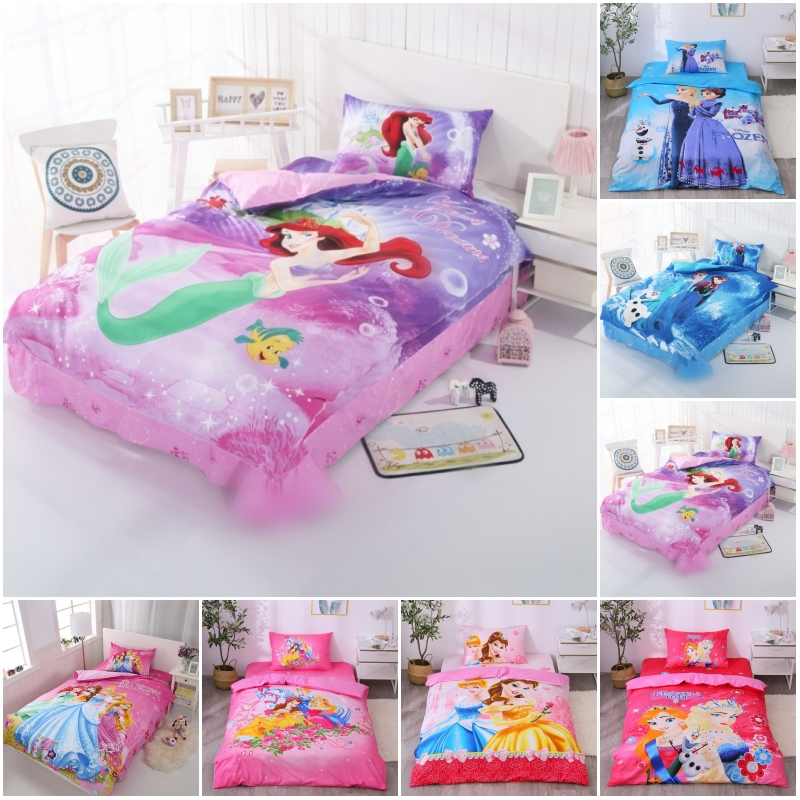 Disney Barbie Mermaid Princess 100% Cotton Bedding Set Duvet Cover Flatsheet Pillowcases For Baby Girls Kids Bed Birthday Gift