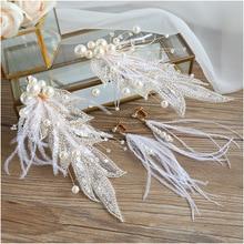 feather flower Shining Crystal Leaf bride tiara Brides Headdress Immortal Temperament Hair Jewelry Bride hair wear