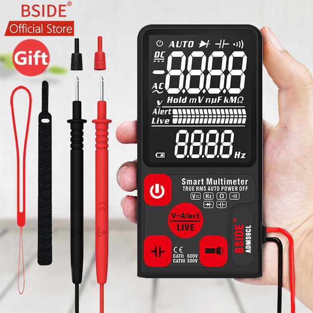 BSIDE ADMS7 Voltage Tester 3.5 Large LCD Digital Smart Multimeter Triple Display TRMS 6000 Counts DMM with Analog Bargraph