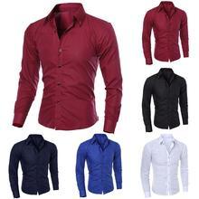 2019 new fashion men's pure color collar shirt long-sleeved slim shirt