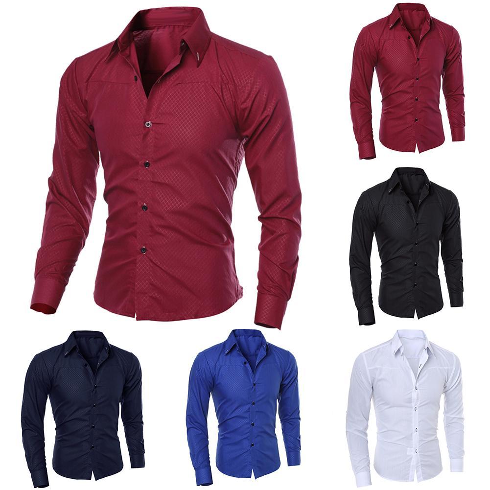 2019 New Fashion Men's Pure Color Collar Shirt Long-sleeved Slim Shirt Hot Selling Close-fitting Classic Shirt Men Shirt Top Clo