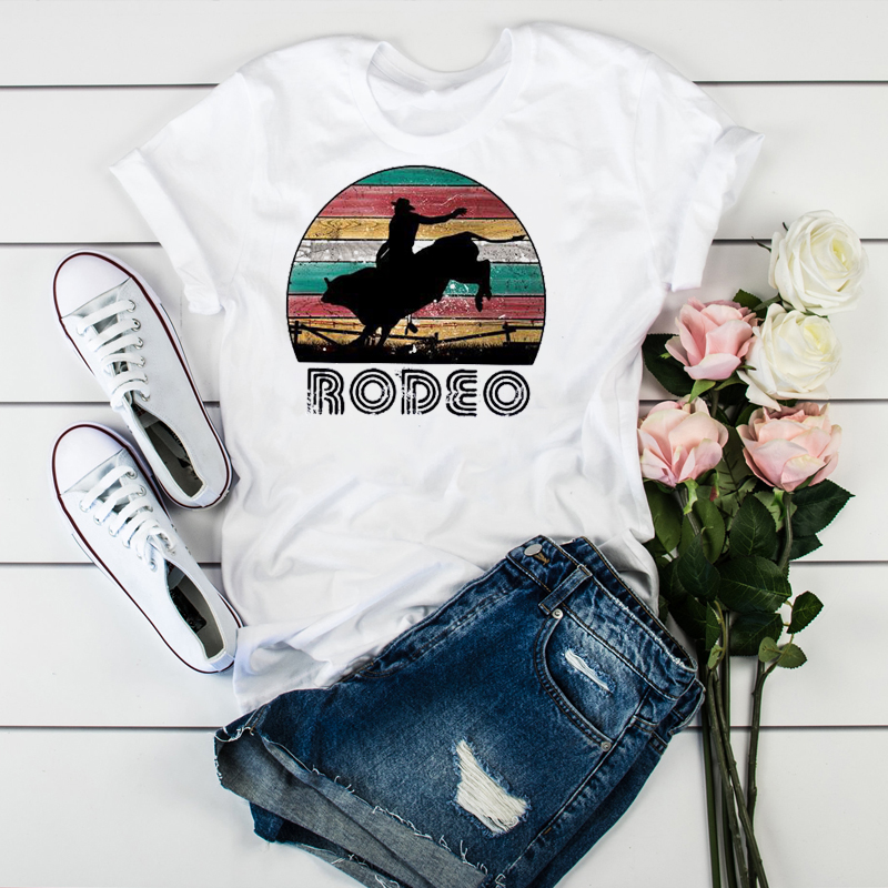 Women Cowboy Ride Horse Cute Fashion Print Clothes Ladies Womens T-Shirt Graphic Tops Clothes Female Tumblr T Shirt T-shirts