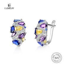 E Authentic 925 Sterling Silver Earrings for Women Flash CZ Zircon Ear Studs 4 Colors Huggie Earrings Wedding Trendy Jewelry New