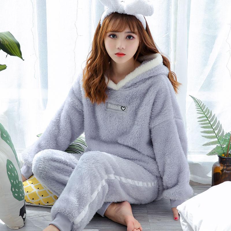 Winter Thick Warm Flannel Pajamas Sets For Women Sleepwear Home Clothing Pajama Home Wear Pyjamas Set