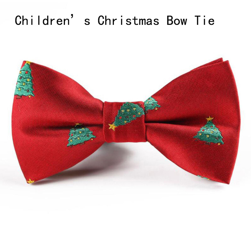 Ricnais Boys Christmas Bow Ties Snowflake Christmas Tree Pattern Bow Tie For Children Kids Gifts Red Blue Bowtie Size 9cm*5cm
