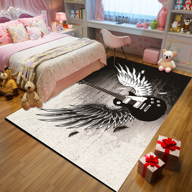 Creative Music Black/white Wings Guitar 3D Printed Carpets For Living Room Bedroom Area Rugs Hallway Carpet Antiskid Kitchen Mat