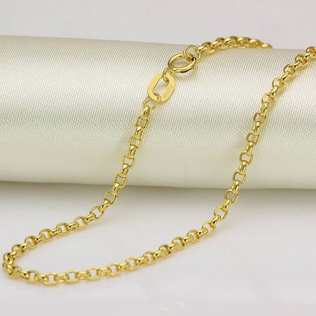 Solid 18K Yellow Gold Necklace 2mm Rolo Link Chain Necklace Stamped Au750 40cm-75cm 5
