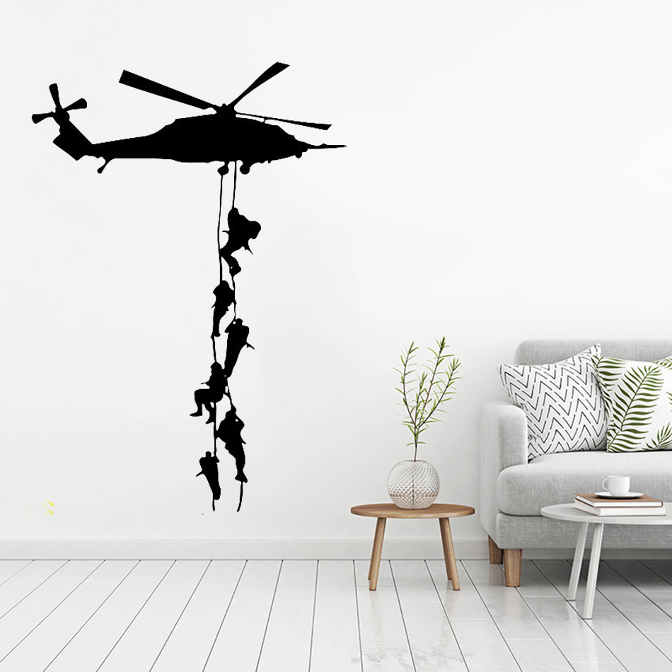 Military Vinyl Decor Wall Sticker Helicopter Wallpaper For Boys Army Room Art Decoration Removable Free Shipping Wallpaper Y 626 Wallpapers For Wall Stickerdecorative Wall Stickers Aliexpress