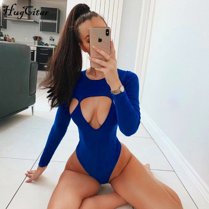 Hugcitar 2019 Long Sleeve Hollow Out Sexy Bodycon Bodysuit Autumn Winter Women Streetwear Club Solid Body