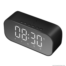 Bluetooth Speaker with FM Radio LED Mirror Alarm Clock Subwoofer Music Player Desktop Clock Wireless bluetooth alarm clock wireless speaker with led display