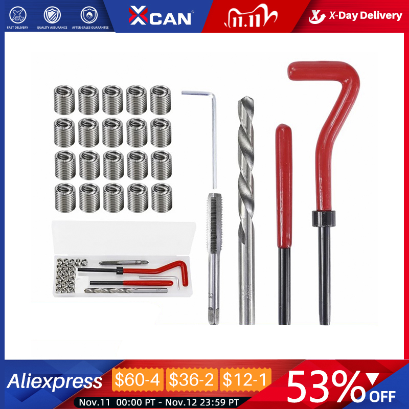 Thread Repair Kit | XCAN Thread Repair Kit M3 M4 M5 M6 M8 M10 M12 M14  Screw Thread Inserts For Restoring Damaged Threads Repair Tools Drill Bit