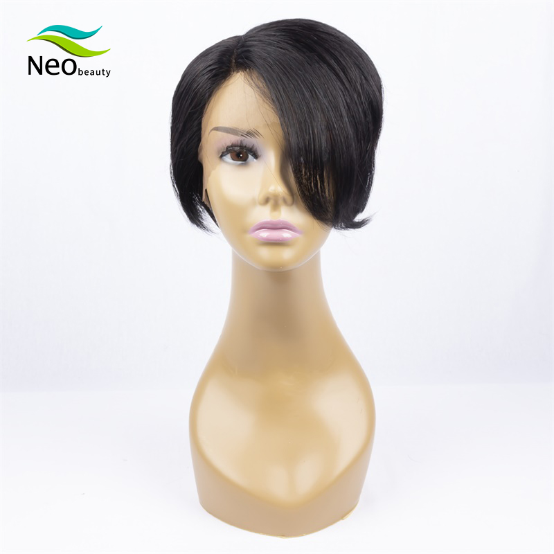 100% Brazilian Wignee Pixie Cut Human Hair Short Black Lace Wigs Fake Scalp Remy Straight Hair Wig