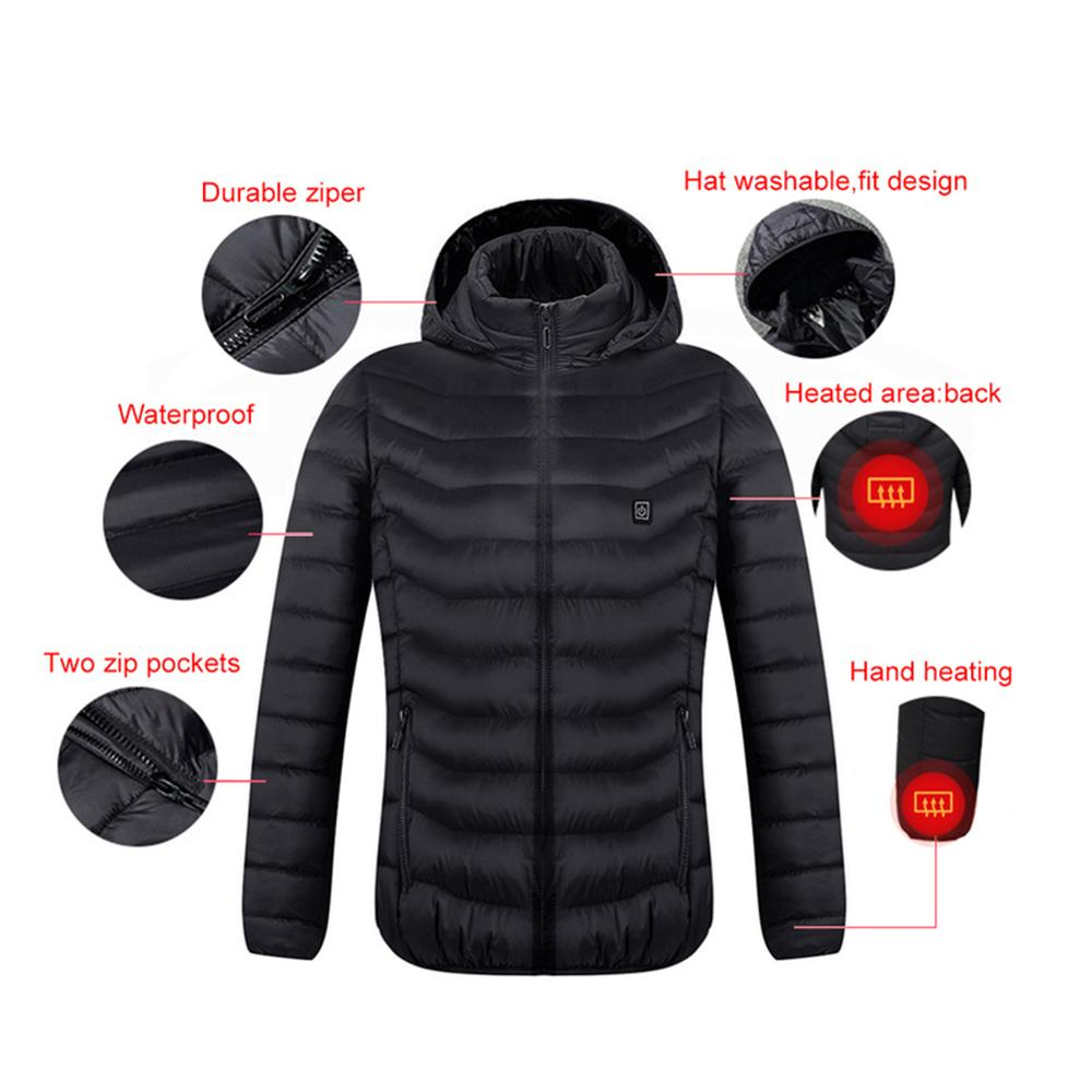 2020 Top Men Women Winter Thick USB Heating Cotton Jacket Outdoor Waterproof Windbreaker Hiking Camping Trekking Climbing Coats