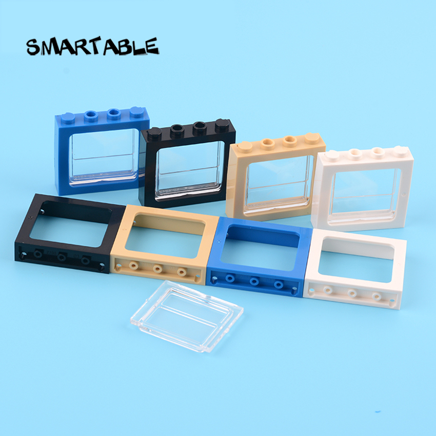 Smartable Window 1x4x3 Train With Glass Building Block MOC Train Parts Toy For House Castle Compatible City 6556+4034 10pcs/lot