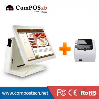 """Multi function LCD LED screen pos all in one 15""""  touch screen pos system pos terminal with 80mm printer"""