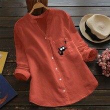Забавная кошечка блузка с рыбками Женская хлопковая льняная рубашка на пуговицах с принтом Блузка с длинным рукавом и стоячим воротником Женская блузка