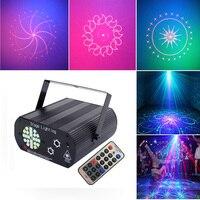 Светодиодный Диско DJ Лазерный Вечерние огни звуковая активация 48 узоров лазы проектор 24 светодиодный RGBW Строб сцена свет для дня рождения