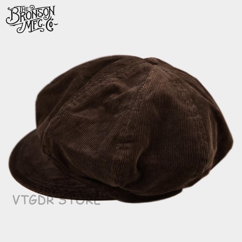 Corduroy Bronson Vintage Flat Cap Winter Classic Men's Newsboy Hat Driving Brown