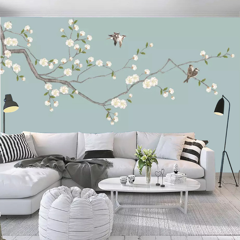 New Chinese Style TV Backdrop Mural Flowers And Birds Sofa Wall Wallpaper Customizable TV Wall Wallpaper Hand-Painted Wall Cloth