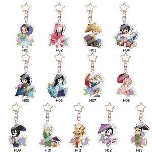 13 Styles Anime Demon Slayer Kimetsu No Yaiba Keychain Acrylic Ghost Blade Pendants Cute Cartoon Bag Key Chains Cosplay Jewelry