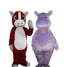Унисекс плюшевый костюм коня-маскота взрослый Косплей костюм Бегемот маскарадный костюм животное маскарадный костюм на Хэллоуин Рождество