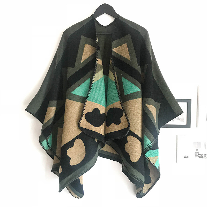European And American Autumn And Winter New - Style Airport Yang Tong - Style Thick Fork - Opening Shawl - Like Cashmere Scarf