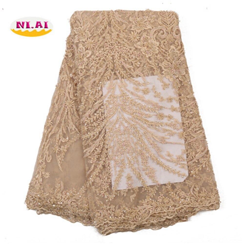NIAI africain dentelle tissu 2019 haute qualité dentelle matériel broderie français dentelle tissu or à la main perles dentelle tissu XY3218B-6