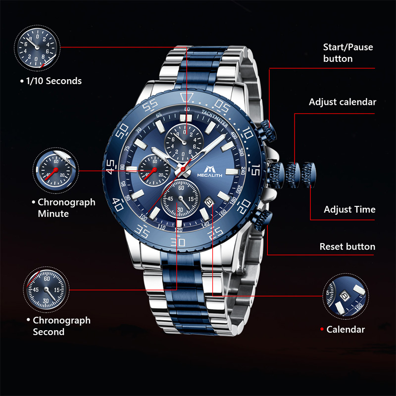 Image 3 - MEGALITH Watches Mens Waterproof Analogue Clock Fashion Stainless Steel Waterproof Luminous Watch Men Sports Relogio Masculino-in Quartz Watches from Watches