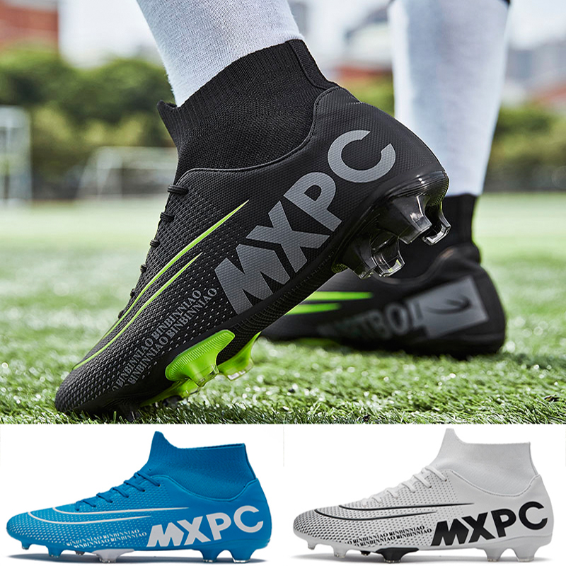 Unisex High Ankle Turf Soccer Shoes For Man Chuteira Campo Long Spike Sock Original Men Football Boots Cleats Trainning Sneakers