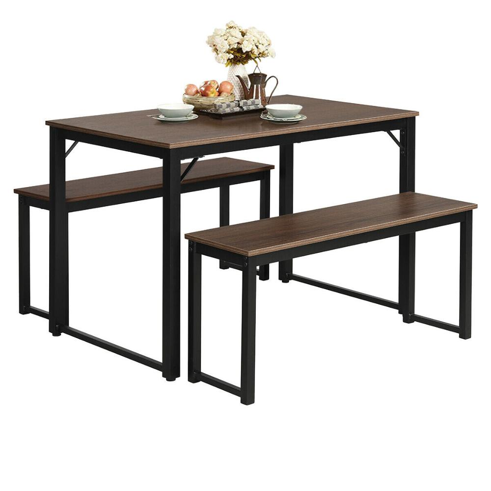 Modern 3 Piece Dining Set Studio Collection Soho Dining Table With Two Benches Hw65622 Dining Room Sets Aliexpress